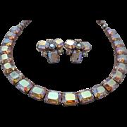 REDUCED Vintage SIGNED Weiss Emerald Cut Aurora Borealis Austrian Crystal Rhinestone Demi ...