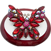 SALE Vintage SIGNED Weiss Red Butterfly Molded Glass & Rhinestone Butterfly Brooch/Pin