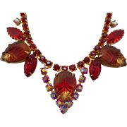 SALE Vintage Red Molded Glass & Austrian Crystal Rhinestone Necklace