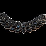 REDUCED Vintage SIGNED Weiss Black Glass Bracelet