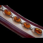 REDUCED Vintage Hallmarked 925 Sterling Silver Art Deco Genuine Baltic Amber Bracelet