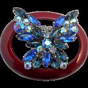 SALE Vintage SIGNED Weiss Cobalt Blue and Aurora Borealis Austrian Crystal Rhinestone Butterfl