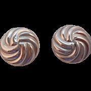 SALE Vintage Hallmarked STERLING Silver Swirl Pierced Button Style Earrings