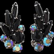 SALE Vintage High End Black Navette and Aurora Borealis Rhinestone Clip Earrings