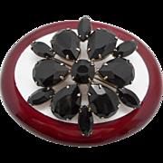 SALE Vintage Black Glass Stone Brooch Pin