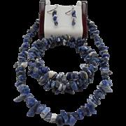 SALE Vintage Hallmarked Sterling 925 Natural Purple Stone Necklace Earrings Bracelet Set