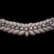 SALE Vintage SIGNED Weiss Milk Glass and Aurora Borealis Rhinestone Bracelet