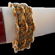 SALE Vintage Damascene Cuff Bracelet