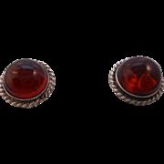 SALE Vintage HALLMARKED 925 Sterling Silver Genuine Amber Pierced Post Earrings