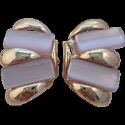 SALE Vintage MOD Mother of Pearl Clip Earrings
