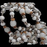 Vintage Ali Kahn New York Milk and Opaline Glass Sautoir Length Necklace