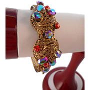 Vintage Marked Germany Red Blue AB Rhinestones Filigree Clamper Bracelet
