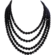 Vintage 1920's Black Faceted Czech Glass Sautoir Flapper Necklace