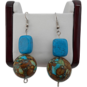 Vintage Enhanced Turquoise Bead Pierced Earrings