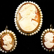 SALE Cameo Earrings and Matching Brooch 14kt Italian Handcarved Shell