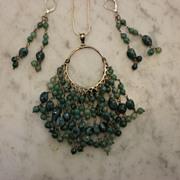 EMERALD Necklace & Chandelier Earrings 45 +carats  Vogue!