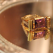 SALE Victorian Amethyst Ring 14kt  So Unique Elaborate Detail