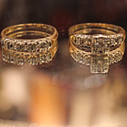 SALE Diamond Ring & Diamond Band  14kt  YG  Circa 1920 Special!!