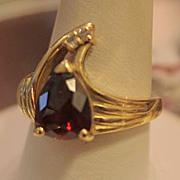 Stunning Garnet Handmade Deco Ring ,Diamond Accent