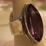 REDUCED Amethyst Deco RING  12 Carat Stone & Chunky Sleek  Setting