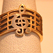 SALE GOLD Ring with Musical Notes Hand Made Awesome Band 14KT