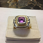 SALE Tiffany & Co.  Amethyst  Sterling & 18kt Chunky Deco Ring FABULOUS