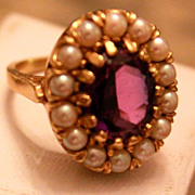 Antique GEORIGAN Pearl & Amethyst Ring  14kt  Circa 1830