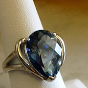 Huge Blue Topaz Pear Shaped Stone Sterling Silver Ring