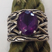 Deco  Amethyst Sterling Freeform Handmade Chunky Ring