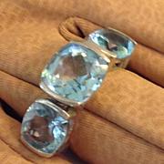 SALE Deco Blue Topaz Sterling Massive Divine Ring