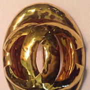 CHANEL Lrg  Gold Logo Brooch /Pin  Authentic Must Have