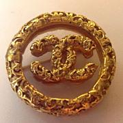 SALE CHANEL Vntg Ornate Lrg Logo Brooch Pin C:1983