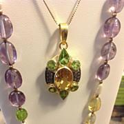 Stunning Citrine, Peridot & Diamond Pendant  Custom Handmade