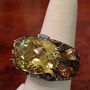 REDUCED Levian  Gorgeous Citrine, Diamond Ring  14 kt Massive Must See