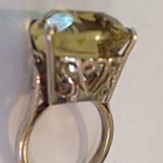SALE Citrine Deco Huge Stone Filigree Sterling Ring