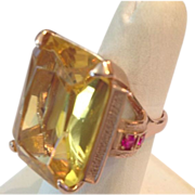 SALE Huge 40 Carat Citrine Emerald Cut Deco Ring