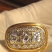 SALE DECO Diamond Ring  14kt CHUNKY , 2 carats