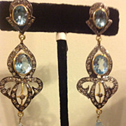 Diamond & Blue Topaz Earrings  3 inches Stunning
