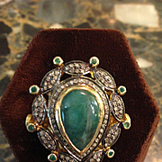 REDUCED Antique Emerald & Diamond Ring Huge Statement Deco