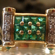Deco  Columbian Emerald & Diamond Ring