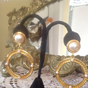 SOLD FENDI  Authentic Signed Earrings  Hoops with Pearls