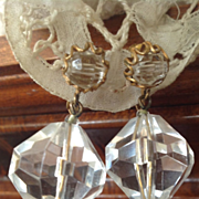 SALE Miriam Haskell Earrings C: 1940 Lovely Crystal Drops