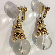 Huge Miriam Haskell Crystal & Gold Stunnig Earrings