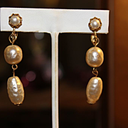 SALE Miriam Haskell Baroque Peal Drop Earrings c: 1940  DECO