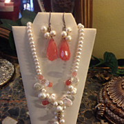 SALE Natural Pearl & Rose Quartz Necklace & Matching Earrings Fabulous French