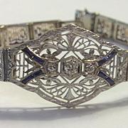 Platinum Diamond Sapphire Filigree Bracelet Art Deco