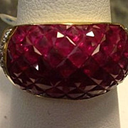 REDUCED Ruby 9 Carats & Diamond 18kt Gold Ring Deco