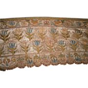 17th Century Italian embroidered long silk pelmet