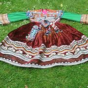 Afghan wedding, festival dress. Bohemian. Embroidered and beaded.