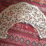 SALE PENDING Early 19 th century tape lace collar in the finest  detail . Linen ecru thread. E